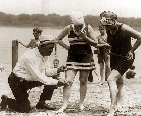 Checking bathing costume hemlines